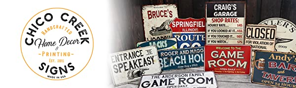 Metal signs, bar and grill, garage signs, home decor,