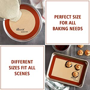 silicone baking mat Silpat cookie non-stick pan liner sheet set macaron round cookie bread quarter