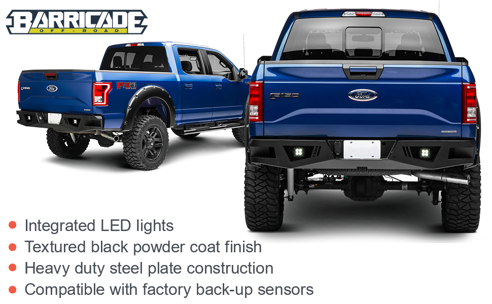 Barricade Extreme HD Rear Bumper with LED Fog Lights for Aftermarket Hitches