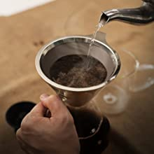 pouring water; coffee filter