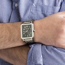 watch watches men mans black dial rectangular square link metal fashion gift dad husband analog