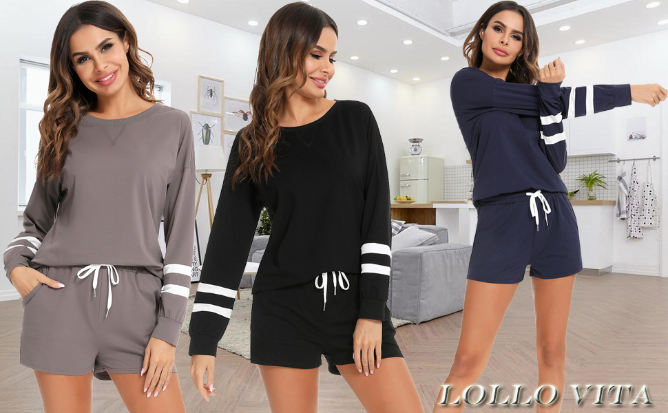 Womens Two-Piece O neck Lounge Outfits Solid Color Long Sleeve Shirt Elastic Drawstring Shorts