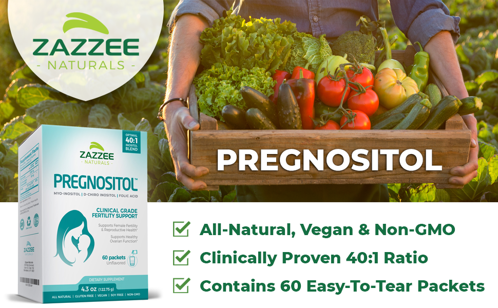 Zazzee Naturals PREGNOSITOL, All-Natural, Vegan, Non-GMO, Ideal 40:1 Ratio, 60 Easy-To-Tear Packets