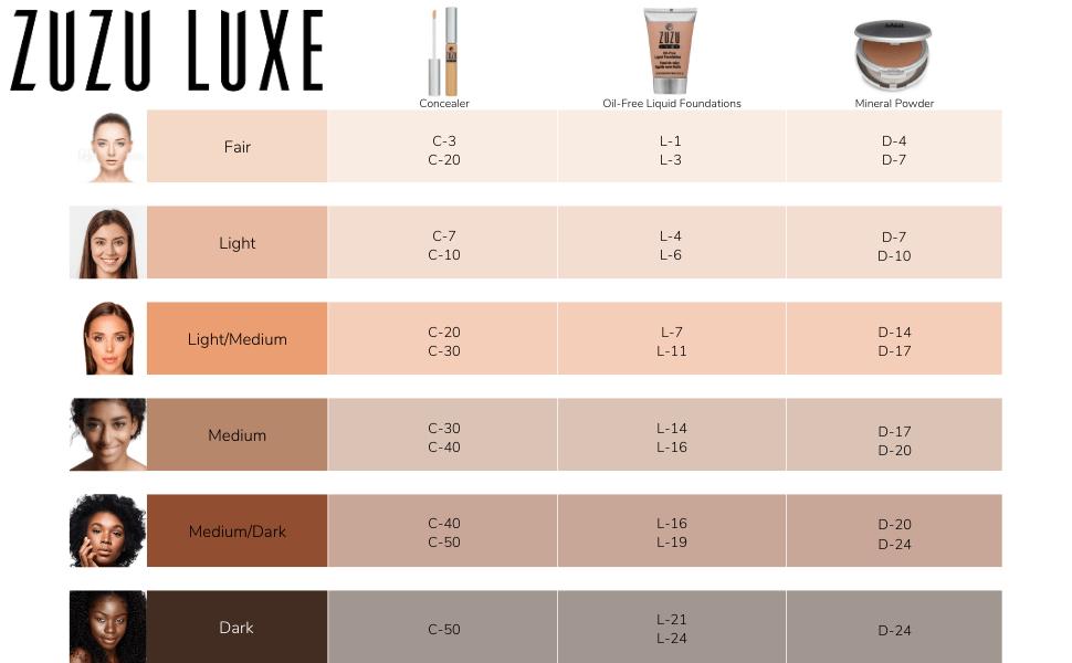 zuzu luxe skin color guide