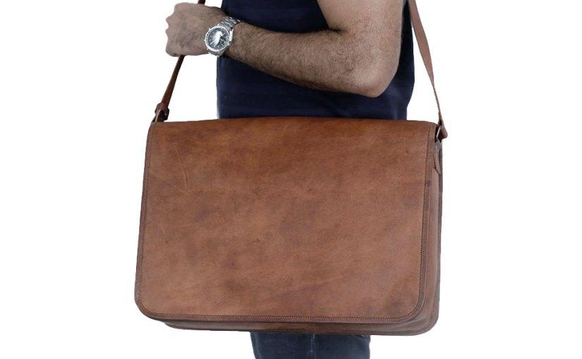 Komal's Passion Leather Vintage Mens 18 Inch Leather Laptop Messenger Pro Satchel Men's Bag