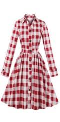 Women Long Sleeve 50s Plaid Dress