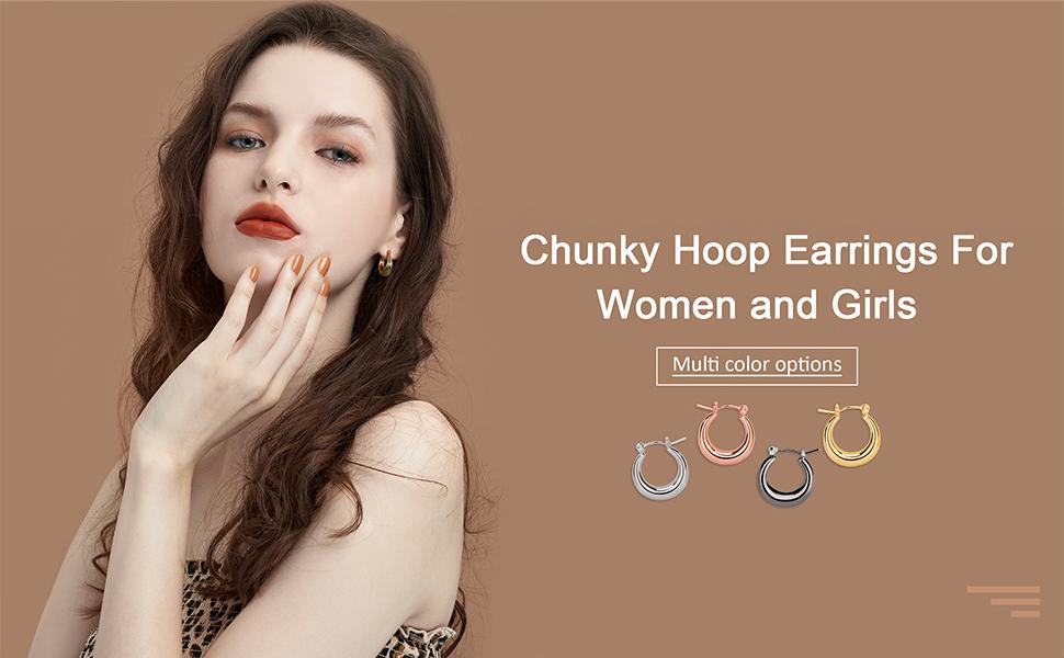 Small cute chunky hoop earrings