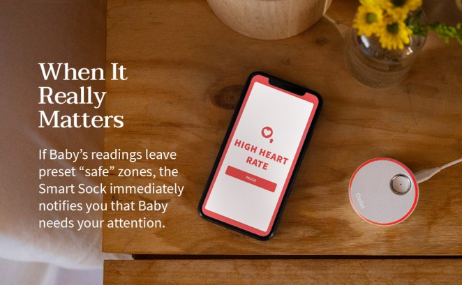 The monitor reports heart rate and oxygen to your smart phone via the Owlet app