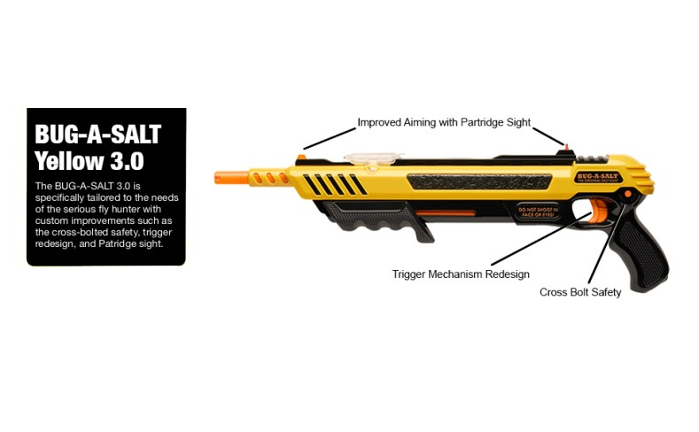 Bug-A-Salt, Yellow 3.0, salt gun, salt fly gun