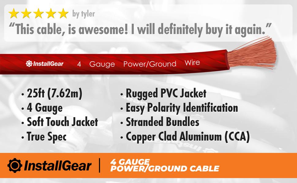 4 gauge power ground wire