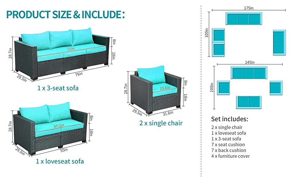 Patio Sectional Furniture Sofa Set 4 Pieces, Armrest Chairs Loveseat Ottomans Table, Furniture Cover