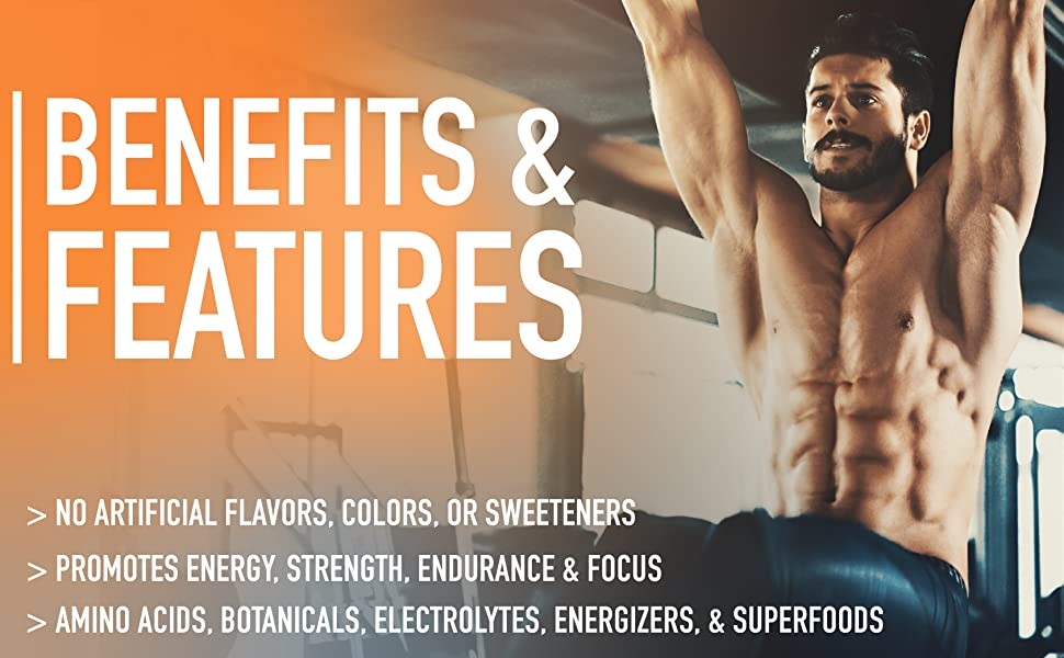 Preworkout benefits - energy, strength, endurance, focus
