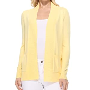 YEMAK Women's Long Sleeve Crewneck Cropped Button Down Cardigan Sweater
