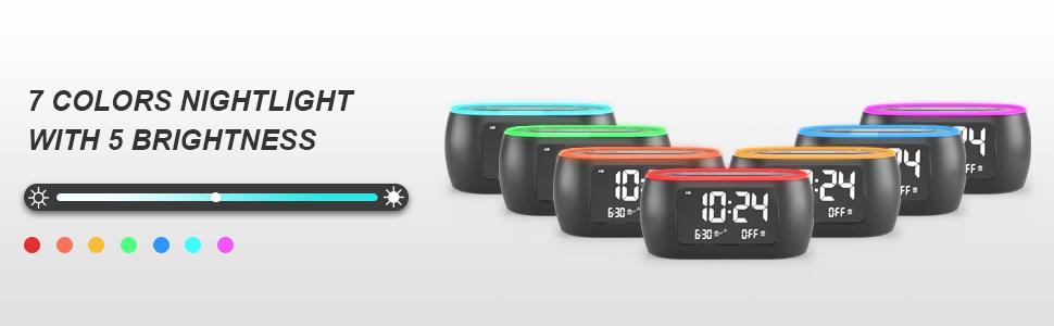alarm clock with 7 colors nightlight