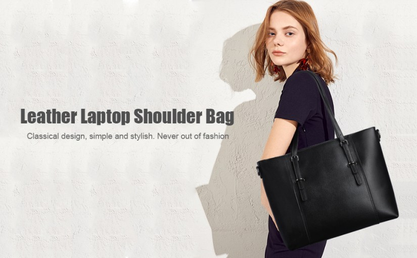 S-ZONE 15.6 inch Leather Laptop Tote Bag for Women Large Computer Shoulder Purse Travel Handbag