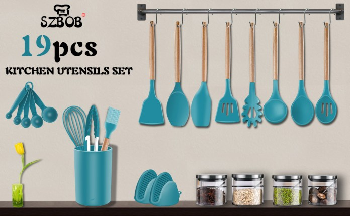 19 Pieces Silicone Wooden Kitchen Utensil Set with Holder, Non-stick, Heat Resistant.
