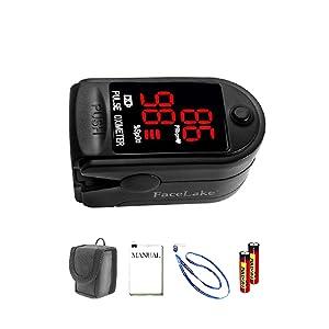 Facelake 400 Pulse Oximeter Blood Oxygen SPO2 Monitor Screen Display for Adults KidsCase Batteries