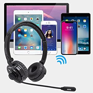 yamay bluetooth headset wireless headphones with microphone for iphone cell phone pc office home