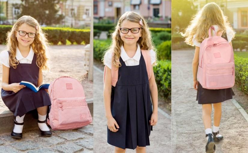 The Girl wears the Choco Mocha School Backpack