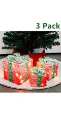 Christmas Lighted Gift Boxes Covered with Snow