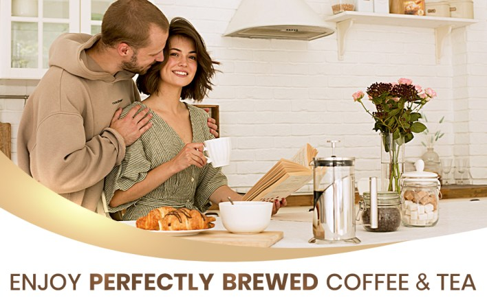 Couple in kitchen enjoying coffee made from the french coffee press