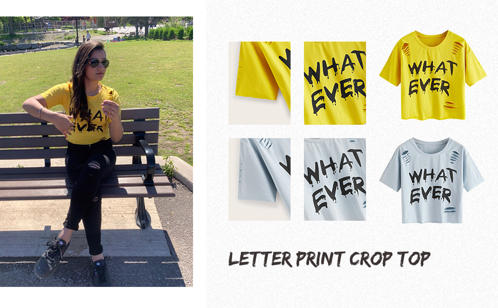 letter print crop tee shirt