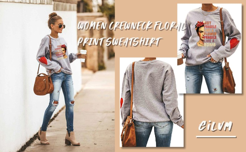 Womens Floral Print T-Shirt Tee Long Sleeve Sweatshirt Casual Crew Neck Pullover Tops