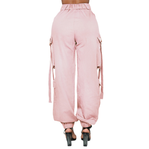 Casual Outdoor Elastic High Waisted Cargo Pant Baggy Jogger Pants with Pockets