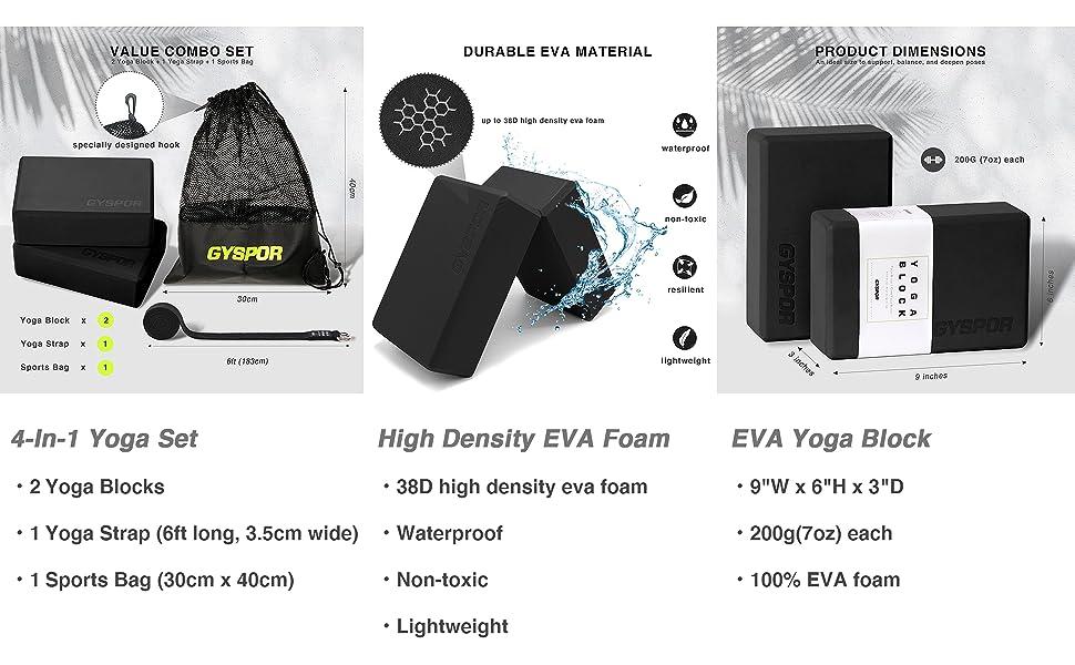 black yoga blocks 2 pack with strap