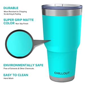 Powder coated stainless steel tumbler