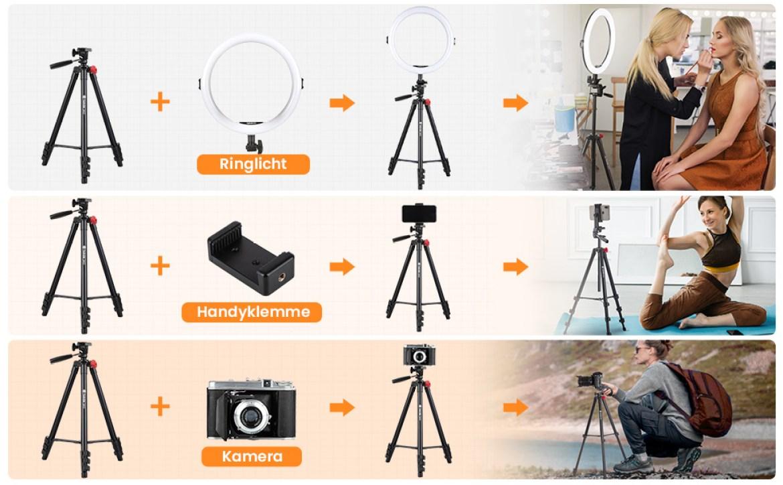 Ringlicht LED Ringleuchte mit Lichtstativ Dreibeine Stative Video Selfie Portrait Youtube Tiktok