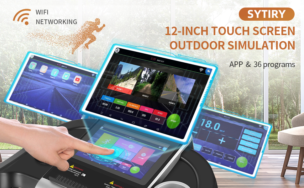 """SYTIRY home treadmill with 12"""" touch screen,  with popular apps Facebook, Youtube ,36 Programs"""