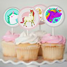 Unicorn stickers for cupcake
