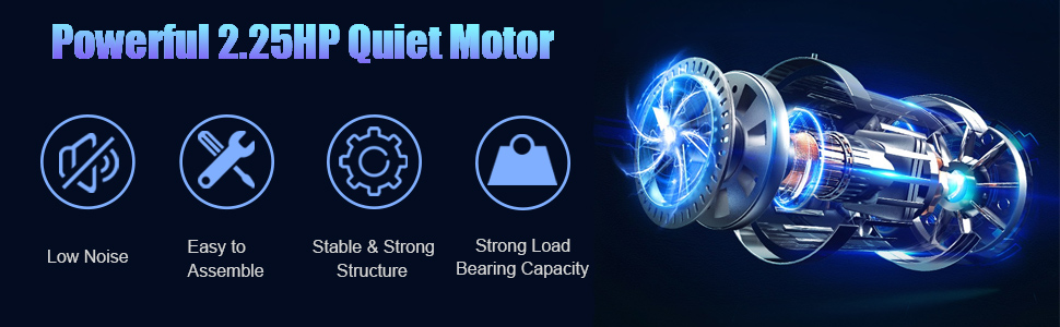 Powerful 2.25HP Quiet Motor