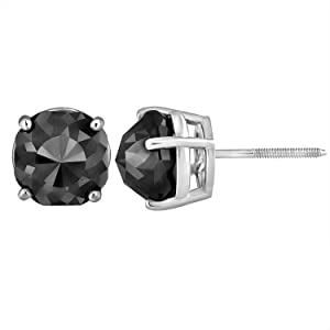 14 karat white gold Black diamond stud earrings pair for women jewelry accessories gemstone