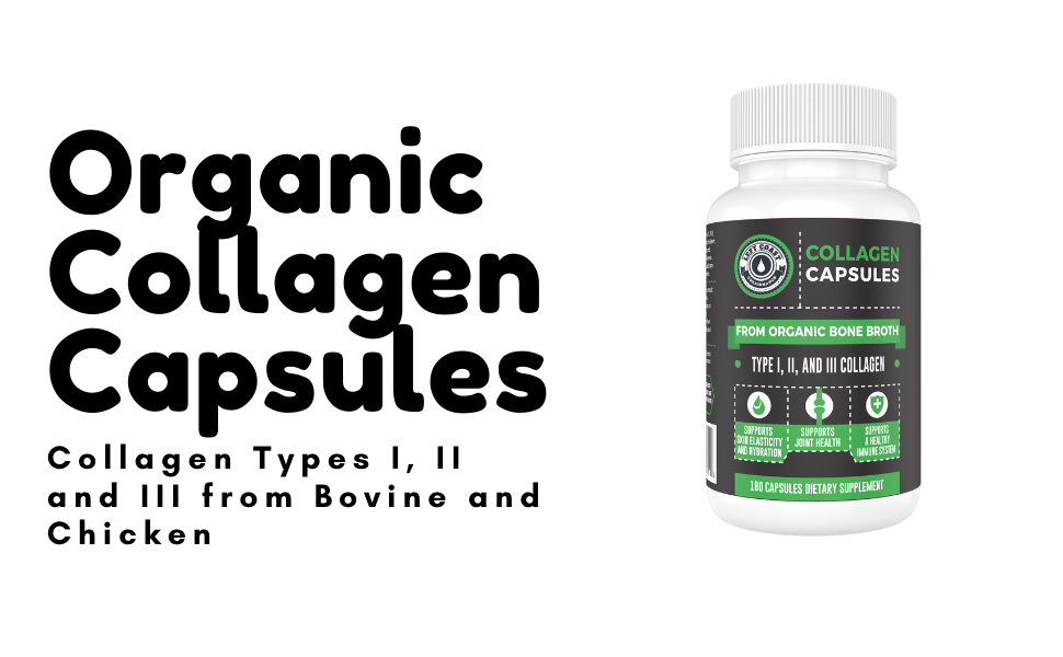 Organic Collagen Capsules from Bovine and Chicken Bone Broth