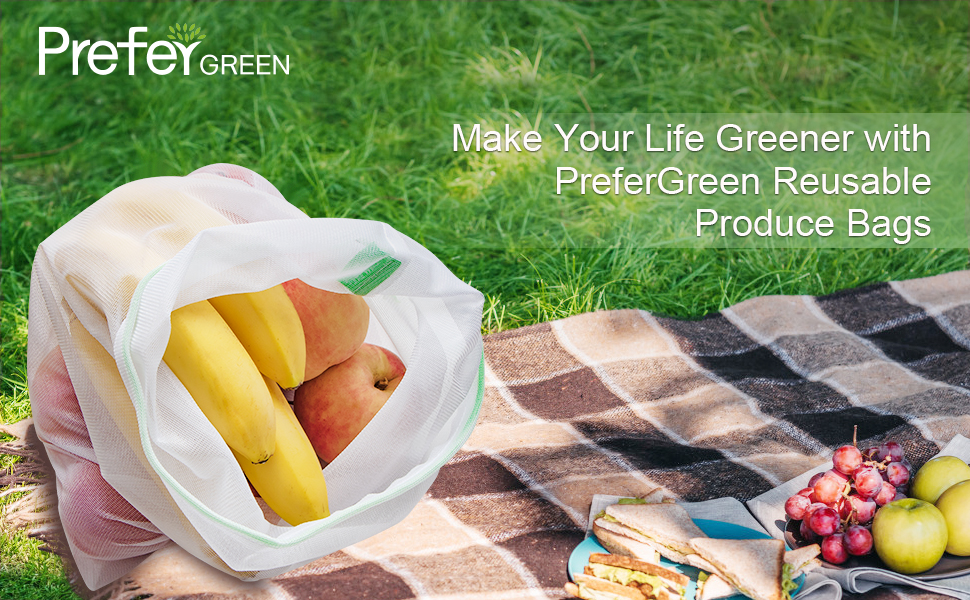 Prefer Green 9PCS Reusable Produce Bags, 16.9 Inch x11.6 Inch Premium Zero Waste Mesh Bags