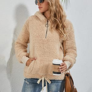 sherpa pullover womens