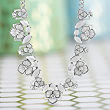 flower necklace rhinestone statement necklaces white flowers fashion jewelry gifts mom steve madden