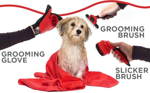 Grooming Kit includes Slicker Brush, Deshedding Comb and Grooming Gloves