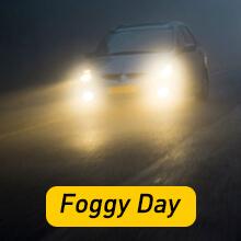 9006 led bulbs on foggy day