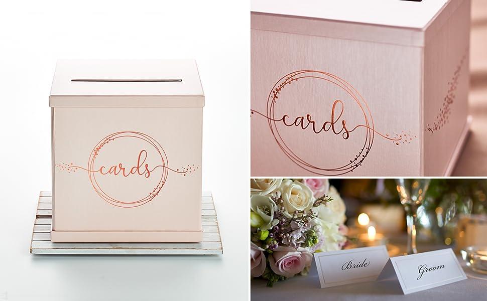 rose gold wedding gift card box