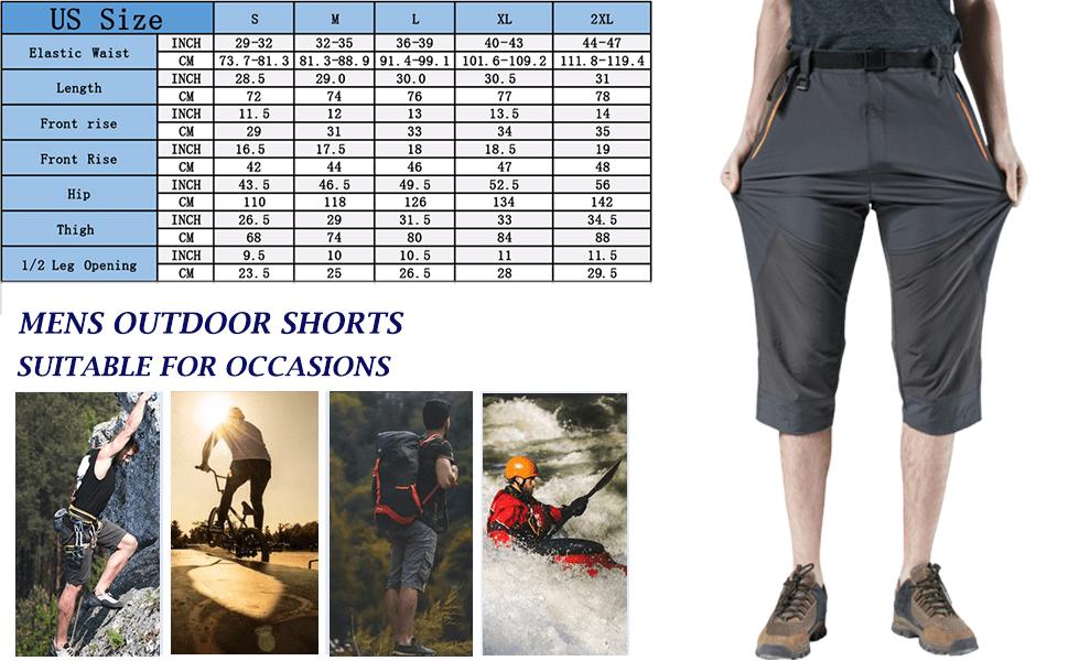Mens Mountain Bike Biking Shorts, Bicycle MTB Shorts Loose Fit Cycling Lightweight Zip Pockets