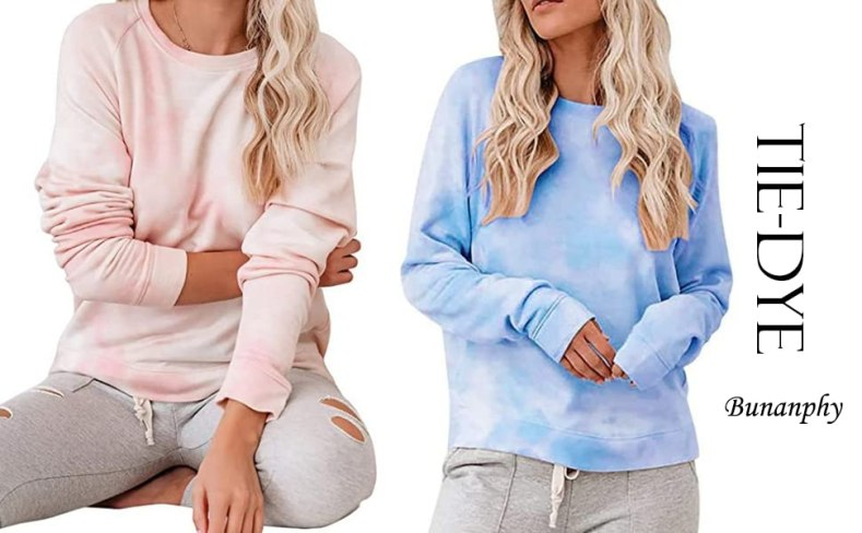 Bunanphy  Crew Neck Tie Dye Rainbow Loose Fit Oversized Loose Casual Sweatshirt Pullover Shirts