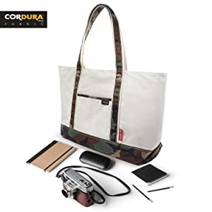 classic and durable tote bag for outdoor essentials power band camara notebook pens usb glasses