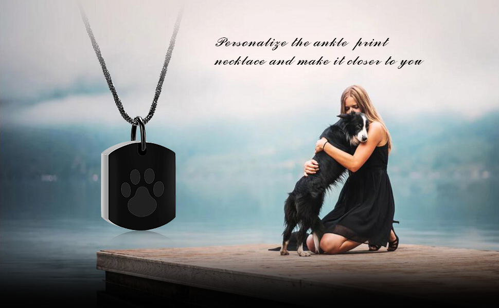 Minicremation Cremation Jewelry Urn Necklace for Ashes for Pet, Paw Print Memorial Ash Jewelry, Keepsake Pendant for Pet's Cat Dog's Ashes with Filling Kit 12