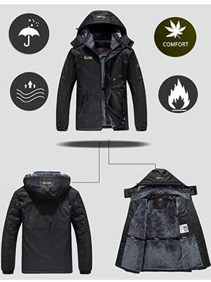 Men's Ski Jacket  Waterproof Winter Jacket Snow Jacket Windproof Hooded with Inner Warm Fleece Coat
