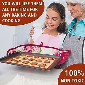 silicone baking mat Silpat cookie non-stick pan liner sheet set macaron round pizza bread quarter