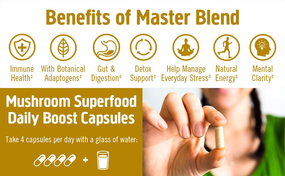 Om Mushroom, Immune Health, Master Blend, Benefits, Detox, Gut, Digestion, Natural Energy
