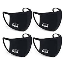 USA Black Cotton Cloth Face Mask Reusable Washable Breathable Comfortable Antimicrobial 4 pack